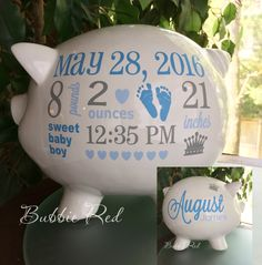 Personalized Piggy Bank, Baby Boy Piggy Bank, Baby Birth Stats Gift,  Baby Boy Gift, Piggy Bank,  New Baby Gift, Baby Bank by BubbieRed on Etsy