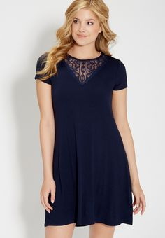 t-shirt dress with lace neckline | maurices