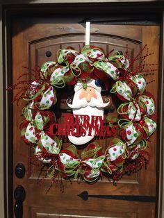 Santa wreath Christmas Porch, Christmas Wreaths, Etsy Wreaths, Porch Doors, Santa Wreath, Etsy Shop, Wreath Ideas, Holiday Decor, Organizing