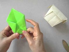 "Origami Box /  Container - looks like the ""drinking cup"" but it's a box!!"