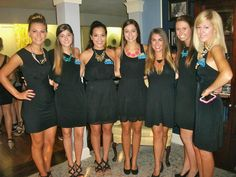 LOVING this idea for recruitment outfits. Simple black dress, black heals, and a statement necklace.