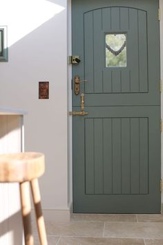 We love the colour of this stable door against our Light Tum.- We love the colour of this stable door against our Light Tumbled Travertine. We love the colour of this stable door against our Light Tumbled Travertine. Cottage Front Doors, Cottage Door, Front Door Entrance, Front Door Colors, Door Design, House Design, Kitchen Doors, Cottage Interiors, Back Doors