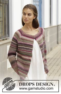 Cecina / DROPS - Knitted jacket with garter stitch and raglan, worked top down. Sizes S - XXXL. The piece is worked in DROPS Delight. Knit Cardigan Pattern, Shrug Cardigan, Jacket Pattern, Crochet Cardigan, Knit Crochet, Knitting Designs, Knitting Patterns Free, Knit Patterns, Free Knitting