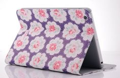 Blue Flowers PU Leather Case Cover with Stand and Card Slot for iPad Mini 1 2-ipad min cases cover