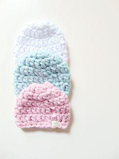 chunky crochet newborn baby beanie // chunky by SellingWarmth // chunky baby beanie baby hat for baby girl and baby boy