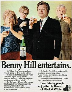 1970s •~• Black & White advertisement, with Benny Hill
