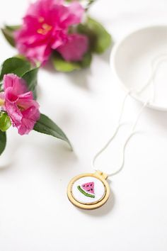 DIY embroidered watermelon necklace for We Make Collective