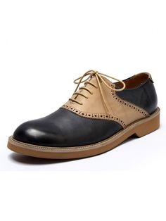 Mens Wax Cowhide Pointed Toe Matching Color Handmade Brogue Shoes Available  Size  Black+Brown 625a0d19a6