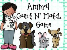 Animal Count N' Match Game Freebie! This is a great game for young kids to practice counting animals, and matching those counted objects with their matching written number. This set goes up to the number 10.