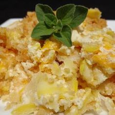 Mama's Summer Squash Casserole Allrecipes.com. Only I add prepared stuffing (from a mix) instead of the Ritz crackers.