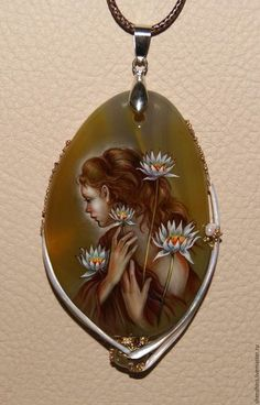 """Necklace with oil painting / Кулоны, подвески ручной работы. Ярмарка Мастеров - ручная работа. Купить кулон """"Лилии"""". Handmade. Комбинированный, жемчуг натуральный"""