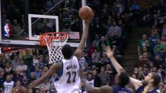 Minnesota Timberwolves Andrew Wiggins goes ways up for a Kevin Martin miss to slam it home. Rookie of the Year type stuff.