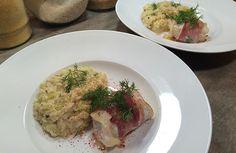 Eglefin et son Risotto à la Crème de Poireau Ce week end on a essayé un nouveau poisson: l'Eglefin. Avec son risotto extra crémeux ça fond dans la bouche et seulement 35g de glucides... et sans Gluten !