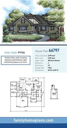 Tudor House Plan 66797 | Total Living Area: 2,709 SQ FT, 3 bedrooms and 3.5 bathrooms. Pocket office, work-in pantry, fabulous island kitchen, open entertaining layout, sun room...#tudorhome
