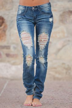 Machine Distressed Skinny Jeans - Selena Wash from Closet Candy Boutique