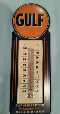 Retro Gulf Oil Metal Large Thermometer Garage Man Cave Home Decor Office Women