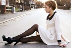 dress white dress shoes petra karlsson black and white black heels black white autumn/winter fall outfits collared dress collar peter pan collar peter pan collar dress clothes pearl tights heart leather leather shoes heels vintage girly girly outfits tumblr