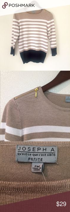 Joseph A. Striped Sweater Stay warm and stay stylish with this must have for your winter wardrobe from Joseph A. Lovely mocha colored stripes alternate with white and black at the hem for a classic, striking look. Gold detailing on the shoulders add style quotient to this piece. Comes from a smoke free home. Reasonable offers will be accepted. Joseph A. Sweaters