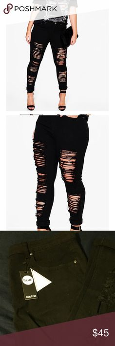 Black Super Distressed Jeans Need new jeans for fall? These would be a great addition to any wardrobe! They're a true black and have lots of give in the pants themselves. Boohoo Jeans Skinny
