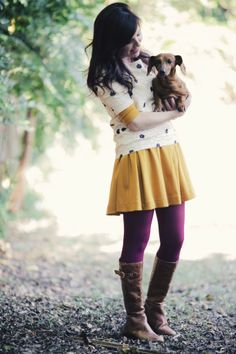 Every fall outfit requires a dog. ;) Plum and mustard yellow are gorgeous colors for the fall time.