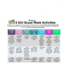 Girl Scout Week Activities Chart - I created this chart so that my girls could earn their Girl Scout Week Patch