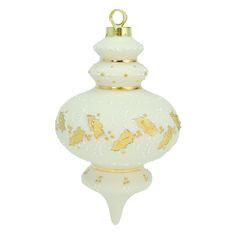 Cast porcelain ornament. Hand decorated with white and gold glazes.