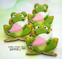 Frog Decorated Cookies with Sea Shell