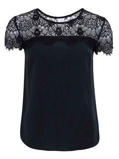 Vero Moda - Černý volnější top s krajkovým detailem  Tammi - 1