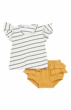 Joah Love Stripe Tee & Ruffled Shorts Set (Baby Girls)