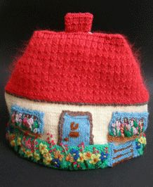 VINTAGE HAND-KNITTED AND EMBROIDERED COTTAGE TEA COSY