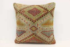 Vintage Kilim Pillow Cover 18 x 18 Organic Pillow Sofa Decor  Pastel Pillow Armchair Pillow Antique Pillow  Cushion Cover  Z-327 by kilimwarehouse on Etsy