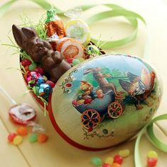Paper mache Easter egg candy container