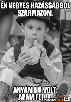 Én vegyes házasságból származom... Vicces képek  #humor #vicces #vicceskep #vicceskepek #humoros #vicc #humorosvideo #viccesoldal #poen #bikuci Cool Pictures, Funny Pictures, Funny Jokes, Hilarious, Everything Funny, Haha, Trauma, Retro, Memes