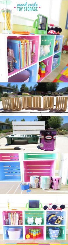 Check out this colorful, DIY wood crate toy storage. | home decor DIY organization
