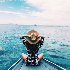Girl on a boat. Shop the Matthew Williamson beachwear collection at matthewwilliamson.com
