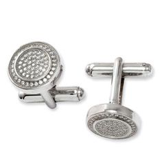 Men's Clear CZ Round Silver Cufflinks For Men Available Exclusively at Gemologica.com