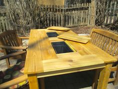 Patio Party Table with Built In Beer/Wine Ice Coolers Table Bbq, Build A Picnic Table, Patio Table, Wood Table, Dining Table, Backyard Furniture, Wood Furniture, Outdoor Furniture, Wood Patio