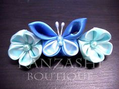 flower & butterfly barette by Kanzashi.Boutique, via Flickr