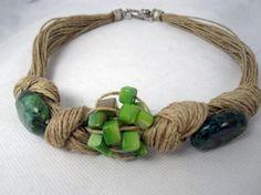 collar lino,nudos, turquesas ovaladas y nácar verde  lino natural,turquesas ovaladas,nácar verde engarzado,anudado