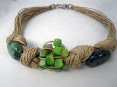 Necklace linen, knots, turquoise and green oval pearl natural linen, turquoise oval, green pearl crimped, knotted