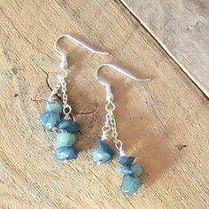 Teal Blue Quartz Dangle Earrings on Silver Fish Hook Ear Wires