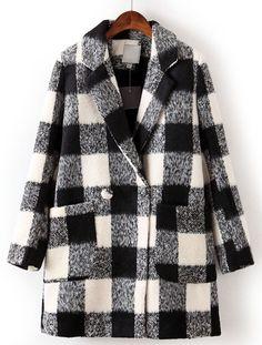 Shop Black White Plaid Lapel Long Sleeve Pockets Coat online. Sheinside offers Black White Plaid Lapel Long Sleeve Pockets Coat & more to fit your fashionable needs. Free Shipping Worldwide!