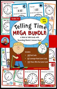 This bundle has a total of 480 cards to help students practice and/or gain mastery on how to tell time appropriately (to the Hour, Half-hour, Quarter-hour, to Five Minutes, and to the Minute). $