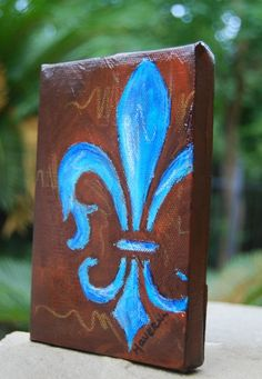 FLEUR DE LIS original small painting by haveart on Etsy, $25.00