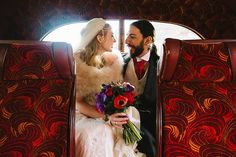 Kieran and Anya looking lovely on board the vintage bus that they hired for their wedding last Friday!