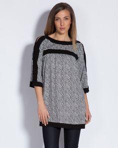 Дамска туника - бяла с черен принт - Toledo #Ефреа #online #онлайн #пазаруване #дрехи #туника #блуза #трико #среденръкав #бяло #черно