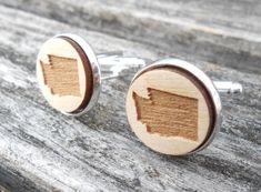 Wood STATE Cufflinks. WASHINGTON. Laser Engraved. Wedding, Men's, Groomsmen Gift, Dad. Custom Orders Welcome. Seattle by TreeTownPaper on Etsy