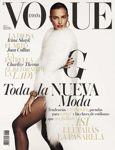Irina Shayk Rocks Fur on Vogue Spain September 2014 Cover