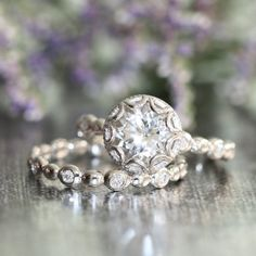Hey, I found this really awesome Etsy listing at https://www.etsy.com/il-en/listing/219881973/floral-wedding-bridal-ring-set-8mm-round