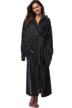 366cb351c4 Winter Thick Warm Women Robes 2017 Coral Fleece Sleepwear Long Robe Woman  Hotel Spa Plush Long Hooded Bathrobe Nightgown Kimono